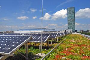 PV-Aufdachanlage: Synergie von Photovoltaik und Verdunstungskühlung durch extensive Dachbegrünung