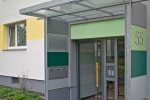 Wohnanlage Schierstein: Treppenhausbereiche und Eingänge setzen sich plastisch von der Fassade ab<br />
