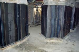 Montierte Stahlbleche vor Einbringung der WU-Sohle