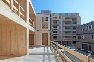 Die in großen Elementen vorgefertigten, präzisen Holzbauteile ermöglichen kurze Bauzeiten, trockene, saubere und leise Baustellen in der Stadt