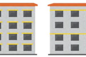 Links<strong>: Brandbarriere (Brandriegel)</strong> Sturzschutz oberhalb jeder Außenwandöffnung; Verhinderung des Brandeintritts in die Dämmebene Rechts: <strong>Umlaufender Brandriegel</strong>; sichere Begrenzung eines Brandes in der Dämmebene in jedem 2. Geschoss