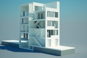 """Prototyp 4-geschossiger Haustyp<br /><span class=""""bildnachweis"""">Grafiken: Fachgebiet Entwerfen und Gebäudetechnologie, Technische Universität Darmstadt</span>"""