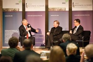 Prof. Dr. Volker Eichener im Gespräch mit Prof. Dr. Manfred Hegger und GdW-Präsident Axel Gedaschko<br />