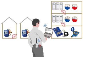 """Funktionsprinzip des """"Sysmess S1"""" von WDV/Molliné: Über """"wireless M-Bus"""" sendet jeder Zähler verschlüsselt Datenpakete der letzten 15 Monatsstände. Je nach Bauwerk kann der Ableser diese sogar außerhalb des Objekts empfangen. Zugeordnet und abgespeichert werden die Werte in einem übersichtlichen Programm, das bei WDV/Molliné zum Systempaket gehört"""