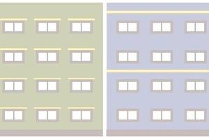 Eine Alternative zum Brandüberschlagsstreifen direkt über den Gebäudeöffnungen (links) ist der umlaufende Brandriegel (rechts)