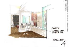 Bett und Bad ergänzen sich gleichrangig in einem großzügigen Raum. Die offen gestaltete Trennwand zum Bad sorgt für mehr Licht, Luft und Freiraum<br />