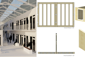 Beim Konzept Klix werden die Wohnmodule gedämmt und nicht der komplette Hallenraum. Dadurch unterliegen die Außenbereiche innerhalb der Halle den jahreszeitenüblichen Temperaturschwankungen