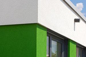 Das Farbkonzept setzt auf interessante Akzente, wie hier auf Teilflächen des zurückgesetzten Dachgeschosses