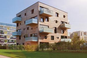 Wohnen ohne Schadstoffe undCO2-neutral: WoodcubeMassivholz-Wohngebäude in Hamburg