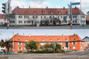 <strong>Vorher – Nachher: </strong><br />Die Farbe ist zurückgekehrt: Kräftiges Rot und Blau zieren die Fassade des Gebäudes der Gartenstadt Karlsruhe eG<br />
