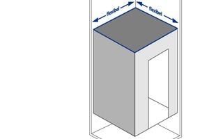 Die Kabine kann sowohl in der Breite als auch in der Tiefe in 10-mm-Schritten an die gegebenen Raumverhältnisse angepasst werden<br />